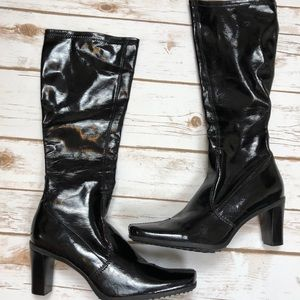 Franco Sarto Patent Leather pull on boots Sz 7.5
